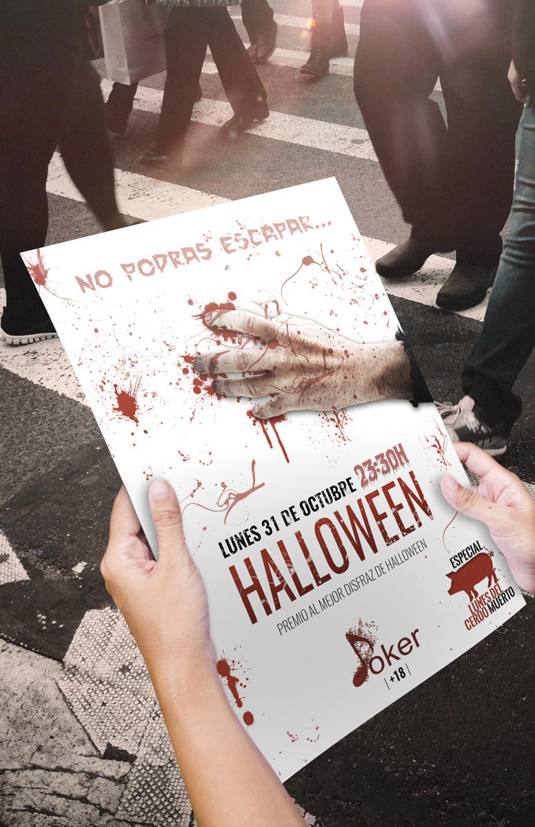 Diseño Poster de Halloween Pub Joker Cartagena